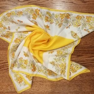 Vintage // Bold Yellow Floral Butterfly Scarf